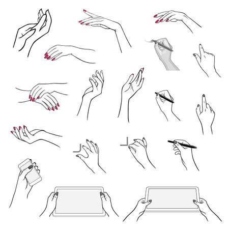 Tenir la main avec lecteur multimédia, tablette (graphique vectoriel), dessin stylet en utilisant l'application