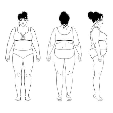 Full length front, back, side view of a fat standing naked woman, isolated on white background. Illustration