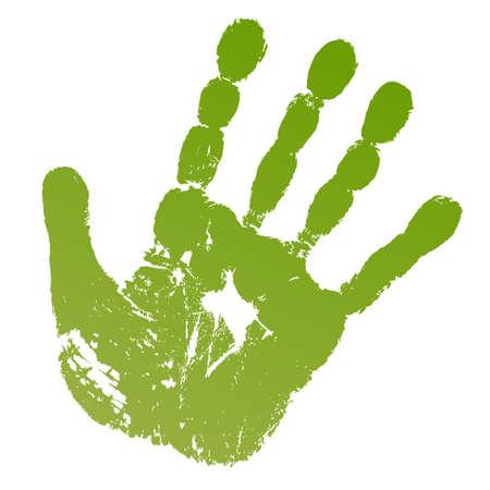 Vector illustratie oude man groene handdruk geïsoleerd op een witte achtergrond