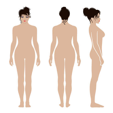 Full length front, back, side view of a lean standing naked woman, isolated on white background.