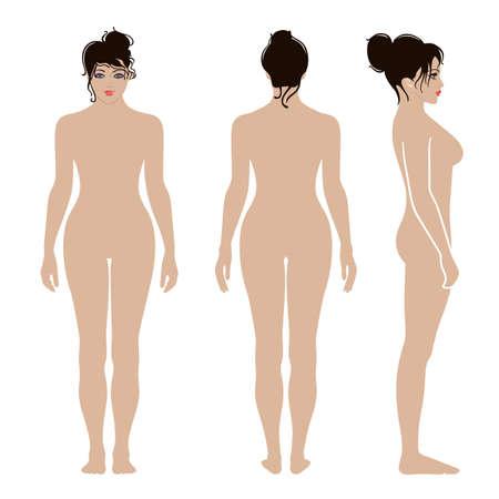 Volledige lengte voorkant, achterkant, zijaanzicht van een mager staande naakte vrouw, geïsoleerd op een witte achtergrond. Stock Illustratie