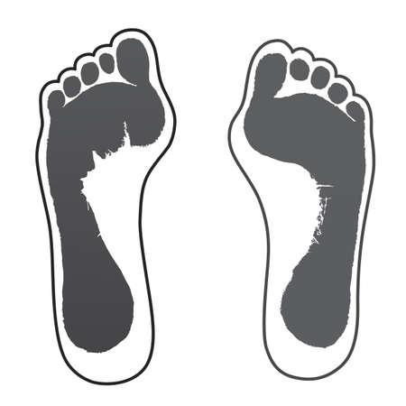 gravedad: Ilustración vectorial mujer de edad gris dos impresiones contorno de pie aislado sobre fondo blanco Vectores
