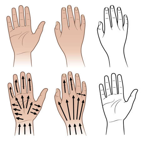 outstretched: Woman, man hands with massaging lines isolated on white (vector illustration) Illustration