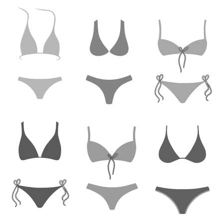 Two-piece swimsuits grey set isolated on white background. Vector illustration. You can use this image for fashion design and etc.