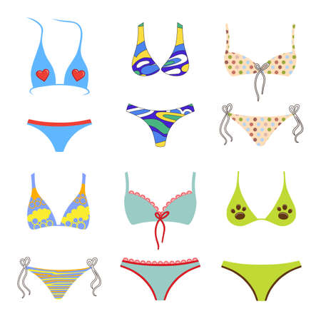 Two-piece swimsuits colored set isolated on white background. Vector illustration. You can use this image for fashion design and etc.