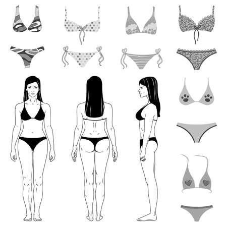 Two-piece swimsuits colored set and girl isolated on white background. Vector illustration. You can use this image for fashion design and etc.