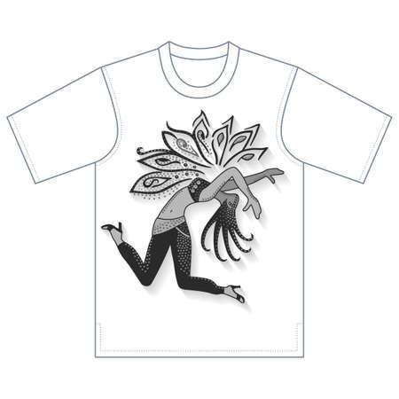 Full length front view of dancer girl, tshirt design. Vector illustration isolated on white background Illustration