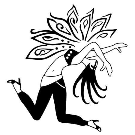 Full length front view dancing girl. Vector illustration
