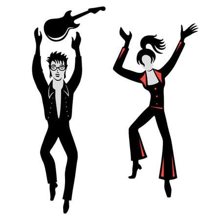 rocker girl: Full length artistas de vista frontal (bailarines, cantantes), aislados en fondo blanco. Ilustración del vector. Usted puede utilizar esta imagen para el diseño de moda y etc. Vectores