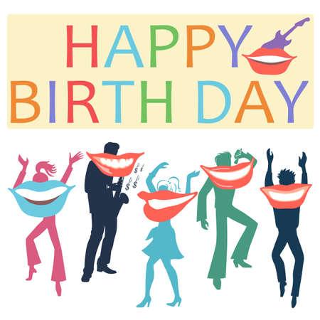 Carte postale avec des artistes souriants souhaitant un joyeux anniversaire, isolé sur fond blanc. Illustration vectorielle