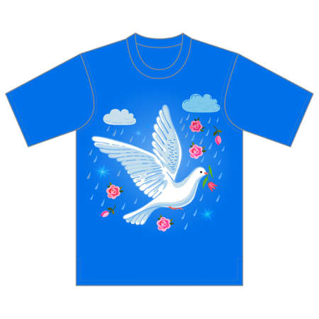 flit: Soaring dove with flower in the clouds, tshirt design. Vector illustration isolated on white background