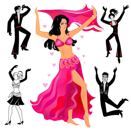 Volledige lengte vooraanzicht tast van artiesten (dansers, zangers), geïsoleerd op een witte achtergrond. Vector illustratie