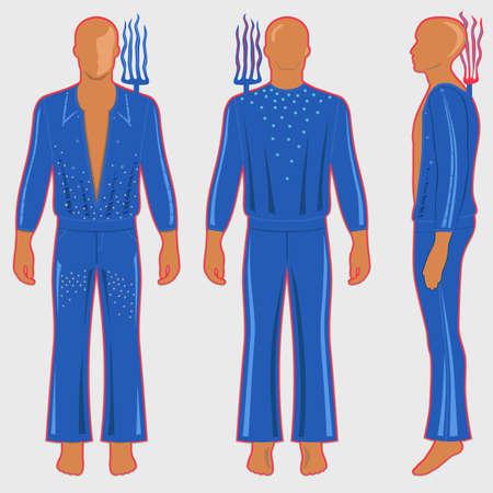 Costume da uomo in costume da ballo: maglietta a manica lunga con profili e pantaloni a zampa (davanti, laterale e posteriore). Dietro le sue spalle c'è il rastrello elettrico. Illustrazione vettoriale isolato su sfondo chiaro