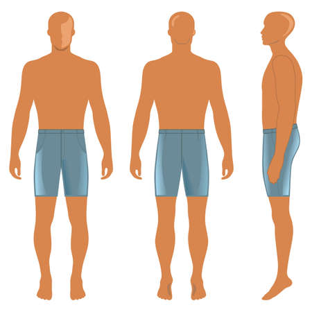 Mans silhouette  in briefs (front, side & back view). Vector illustration isolated on white background