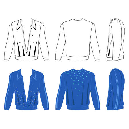 Man's ballroom dancing long sleeve t-shirt outlined costume template (front, side & back view), vector illustration isolated on white background Ilustração