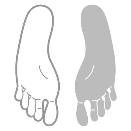 lay: Grey and black outlined footprint template (top view), vector illustration isolated on white background