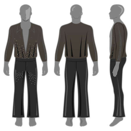 Mans silhouette  in black decorated costume: long sleeve t-shirt outlined and flare pants (front, side & back view). Vector illustration isolated on white background