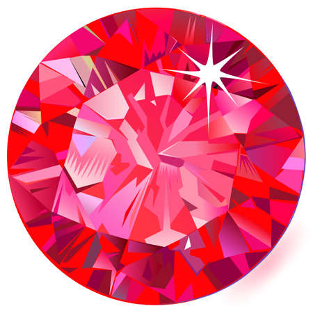 Ruby top view isolated on white background, vector illustration