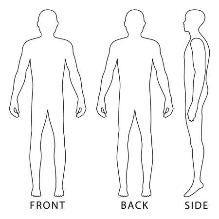 Forme silhouette pleine silhouette modèle silhouette silhouette (avant, arrière et vue latérale), illustration vectorielle isolé sur fond blanc Banque d'images - 82094659