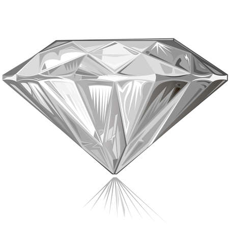 Diamond side view isolated on white background, vector illustration