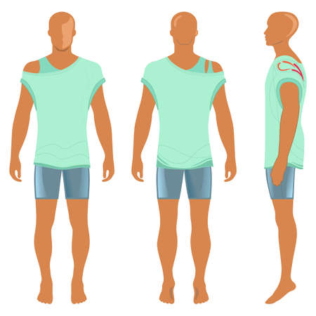 Mans silhouette  in summertime clothes: short sleeve t-shirt and briefs (front, side & back view). Vector illustration isolated on white background Ilustração