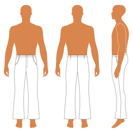 Full length man's silhouette figure in flare pants (front, side & back view), vector illustration isolated on white background