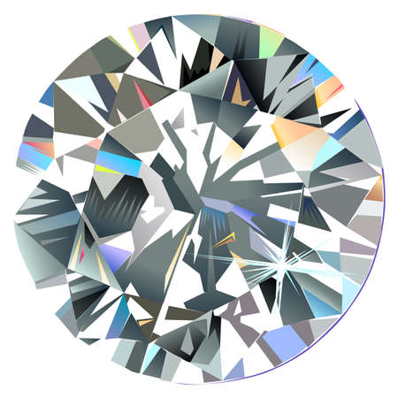 Diamond top view isolated on white background, vector illustration