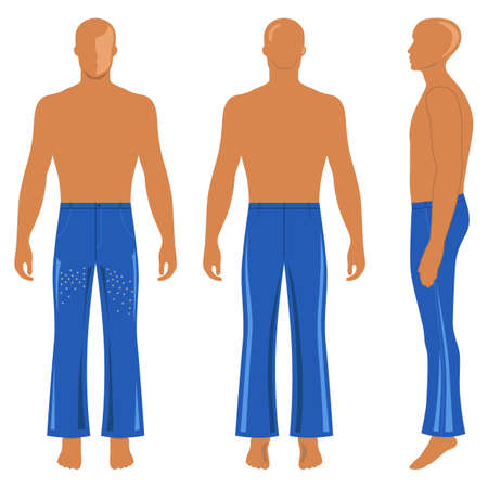 back belt: Full length mans silhouette figure in flare pants (front, side & back view), vector illustration isolated on white background