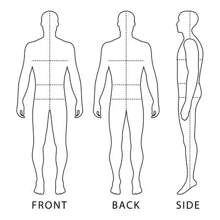 Fashion body full length bald template figure silhouette with marked body's sizes lines  (front, back and side view), vector illustration isolated on white background
