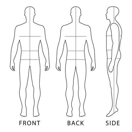 Silhouette de silhouette de modèle complet de silhouette de silhouette avec des lignes de tailles de corps marquées (avant, arrière et vue de côté), illustration vectorielle isolée sur fond blanc Vecteurs