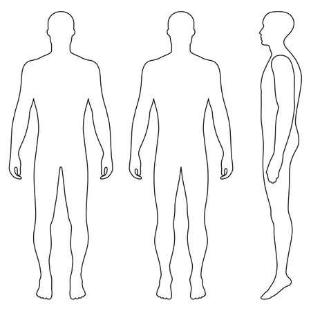 Silhueta da figura do modelo do corpo cheio do corpo inteiro (parte dianteira, parte traseira e vista lateral), ilustração do vetor isolada no fundo branco Foto de archivo - 82094758