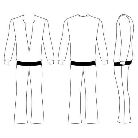 Costume Template   Man S Flare Pants And Long Sleeve T Shirt Outlined Costume Template