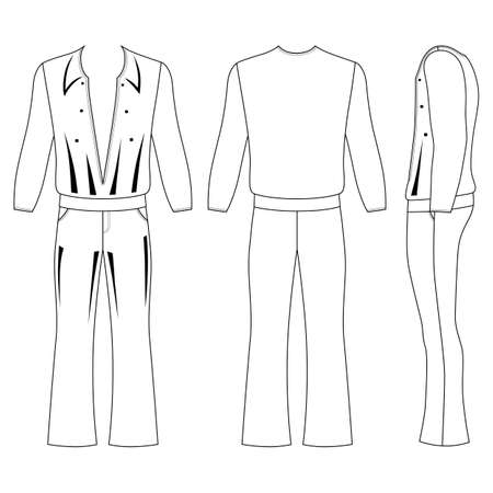 man s flare pants and long sleeve t shirt outlined costume template
