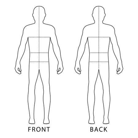 Fashion lichaam volledige lengte kale sjabloon figuur silhouet met gemarkeerde lichaam's maten lijnen (vooraanzicht), vector illustratie geïsoleerd op een witte achtergrond Stock Illustratie