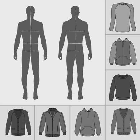 Mens clothing outlined template set (pullover, hoodie, zipped jacket, cardigan, raglan tshirt)  & man croquis silhouette, vector illustration isolated on white background Illustration