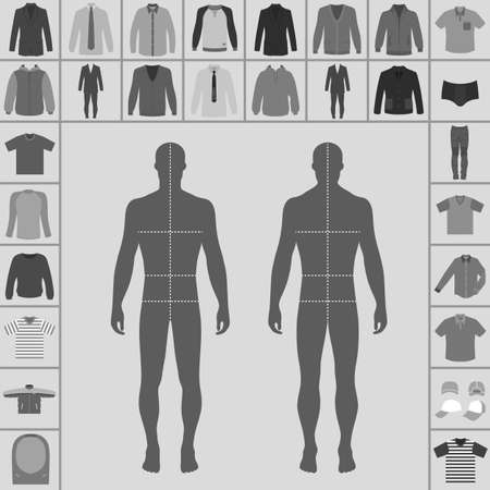 lapels: Mens large clothing outlined template set (single breasted suit, shirt, pullover, hoodie, quilted jacket etc.)  & man croquis silhouette, vector illustration isolated on white background