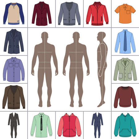 Mens large clothing outlined template set (single breasted suit, shirt, pullover, hoodie, quilted jacket etc.)  & man croquis silhouette, vector illustration isolated on white background