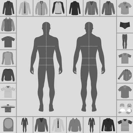 lapels: Mens large clothing outlined template set (single breasted suit, shirt, pullover, hoodie, quilted jacket etc.)