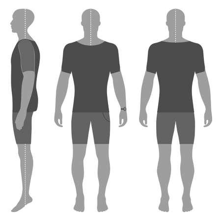 La silhouette de l'homme en vêtements d'été: t-shirt à manches courtes et slip (devant, côté Banque d'images - 84863295