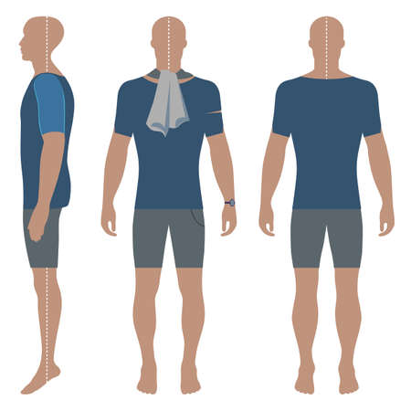Mans silhouette  in summertime clothes: short sleeve t-shirt and briefs (front, side Ilustração