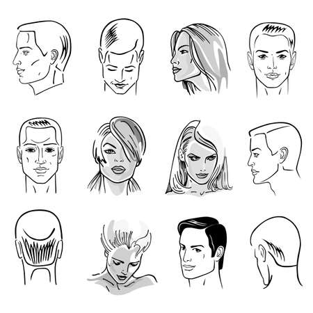 Man hairstyle head set of front, side views, vector illustration isolated on white background