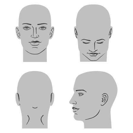 Jeu de tête de coiffure homme (avant, arrière, vues de côté), illustration vectorielle isolé sur fond blanc