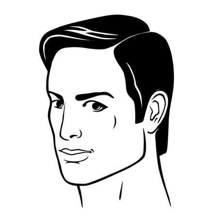 Man hairstyle head front, vector illustration isolated on white background Illustration