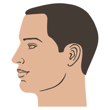 Man hairstyle head side, vector illustration isolated on white background