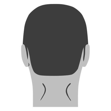 Man hairstyle head set (back view), vector illustration isolated on white background