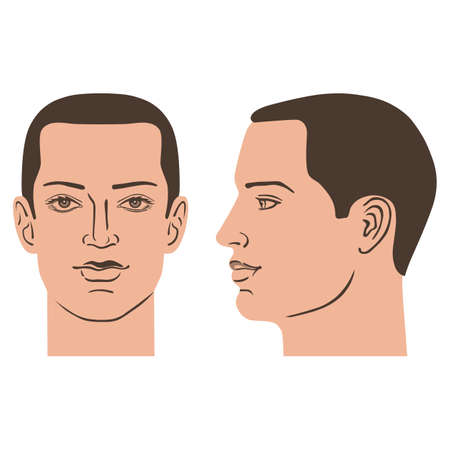 Man hairstyle head (front, side), vector illustration isolated on white background
