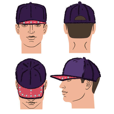 Baseball, tennis, rap cap outlined oil pastel template sketch (front, back and side views) and man head, vector illustration isolated on white background