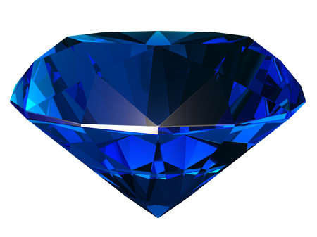 Sapphire side view render isolated on white background (3D illustration)