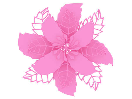Pink colored material flower rendering isolated on white background (3D illustration)
