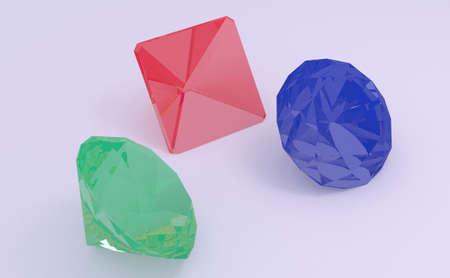 Gems (ruby, emerald, sapphire) side view render on light background (3D illustration)